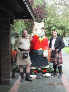 Justin and Jackson next to the largest kilt we have ever made.